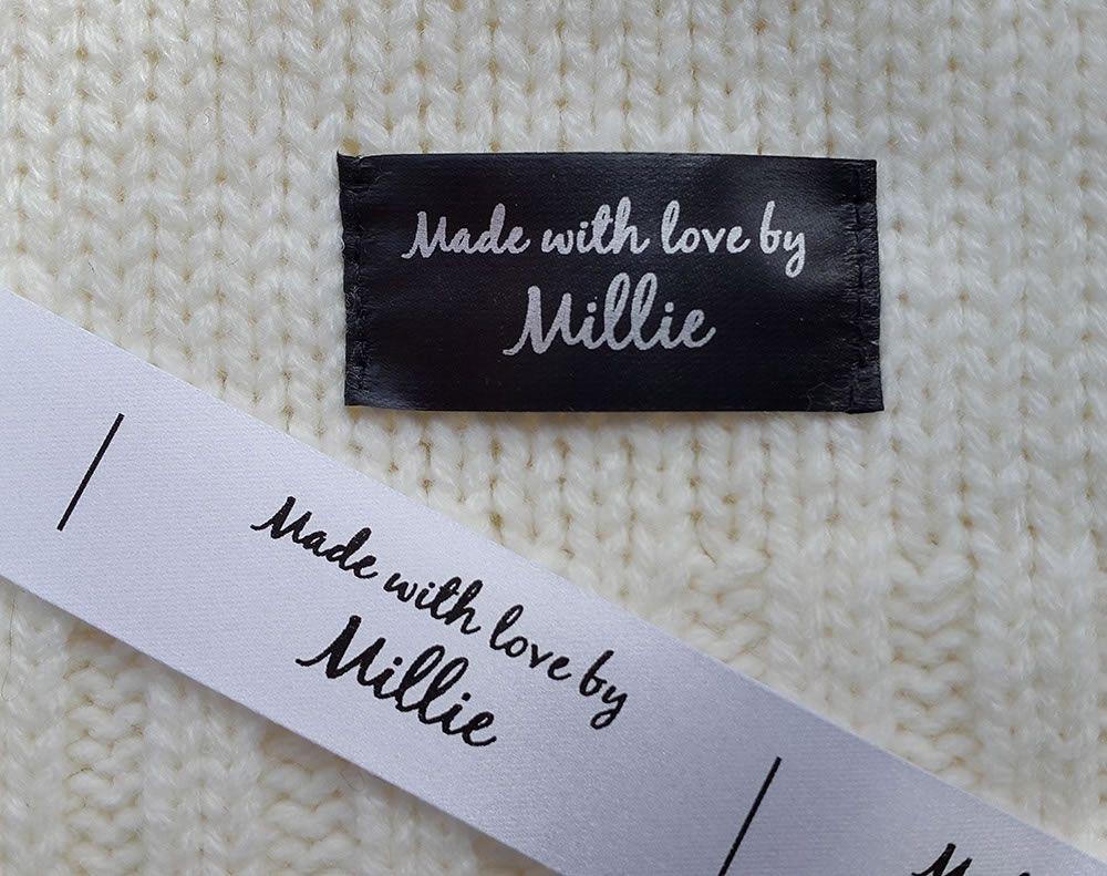 Sew on labels uk - end fold black and white